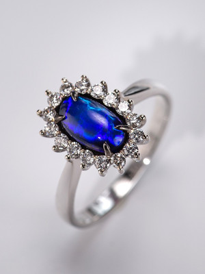 Black opal 14k gold ring with diamonds