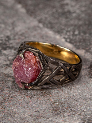 Ruby crystal ring in patinated and gold plated silver
