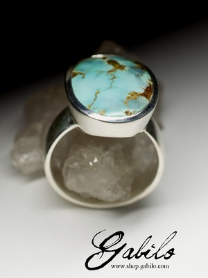 Ring with turquoise in silver