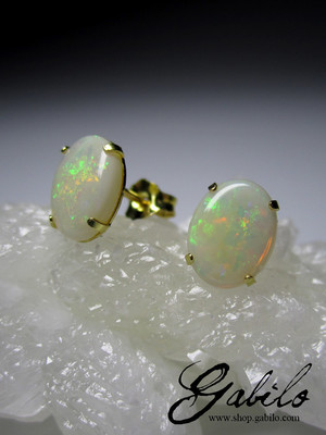 Opal Gold Stud Earrings