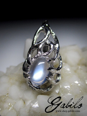 Moonstone silver necklace with gem report MSU