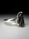 Silver ring with a meteorite