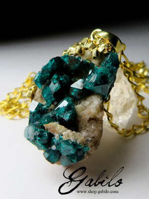 Pendant with gypsum dioptase