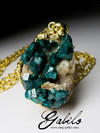 Dioptase Silver Gold Plated Pendant