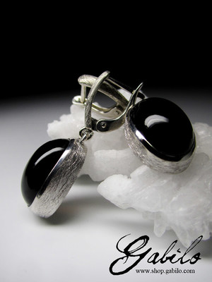 Morion silver earrings