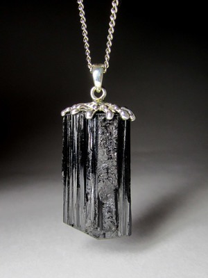 Black tourmaline in silver
