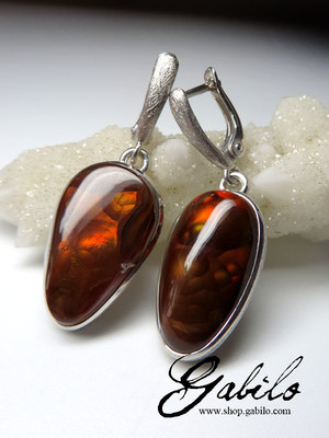 Fire agate silver earrings