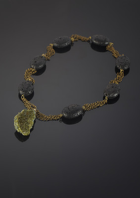 Necklace with epidote and volcanic lava