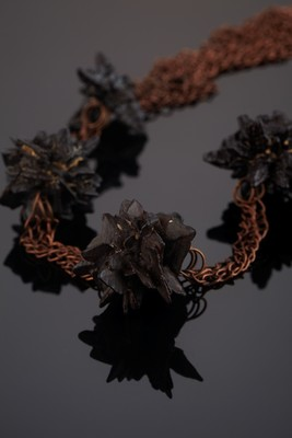 Necklace with limonite pseudomorph on pyrite on copper chains