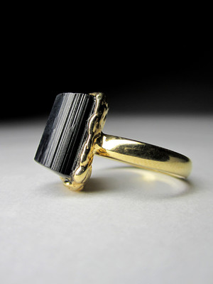 Made to order: Black tourmaline gold ring