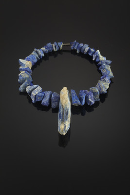 Necklace with kyanite and lapis lazuli