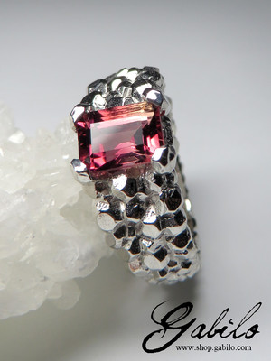 Tourmaline gold ring with Gem Report MSU