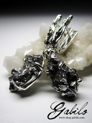 Meteorites Silver Earrings