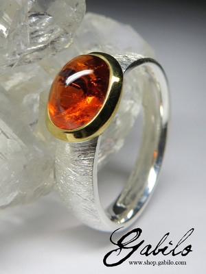 Silver ring with spessartine