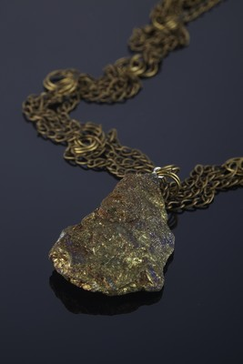 Pendant from chalcopyrite on bronze chains