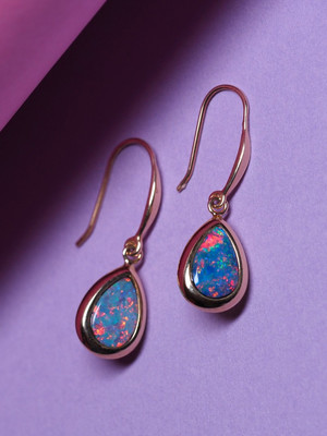 Doublet opal gold earrings