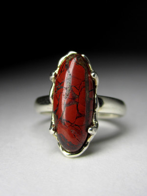 Ring with a jasper red