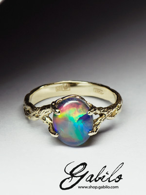 Made to order: Gold triplet opal ring