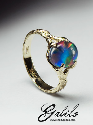 Gold triplet opal ring