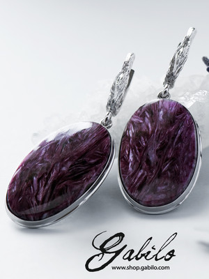 Charoite silver earrings