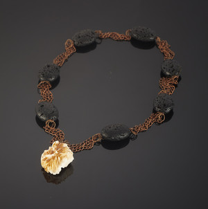 Necklace with vanadinite and volcanic lava