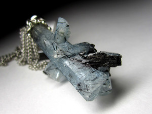 Aquamarine with black tourmaline in silver