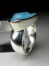 Ring with hemimorphite blue