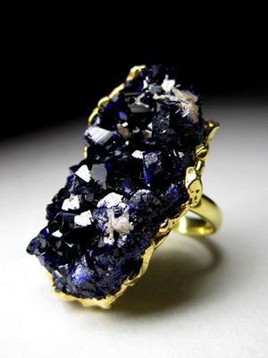 Gold Ring with Azurite