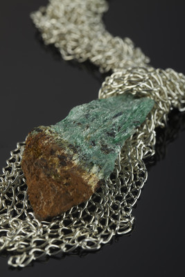 Pendant with fuchsite schist on silver chains