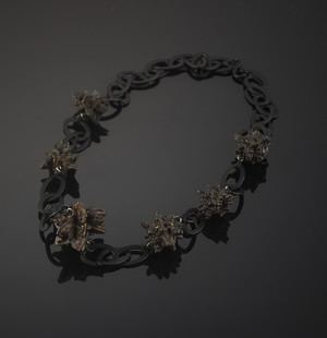 Necklace with limonite pseudomorph on pyrite