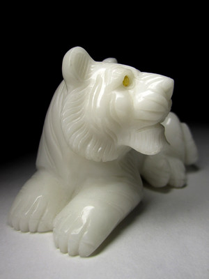 Tiger from white jadeite