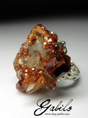 Garnet and Rock Crystals Silver Ring