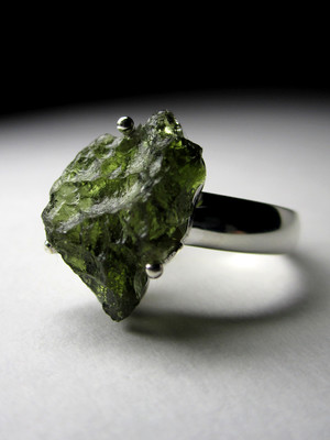 Silver ring with Moldavite