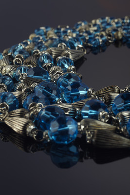 Cascade Blue made of glass and metal beads