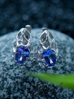 Tanzanite Silver Earrings with Gem Report MSU