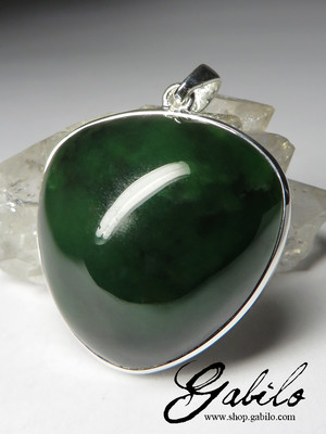 Silver pendant with dark green nephrite