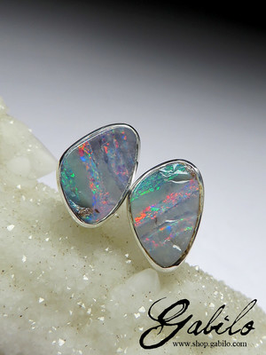 Boulder opal silver stud earrings