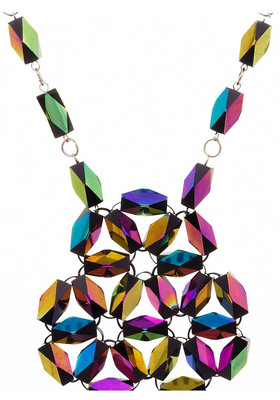 Necklace rhombus from glass beads Oil