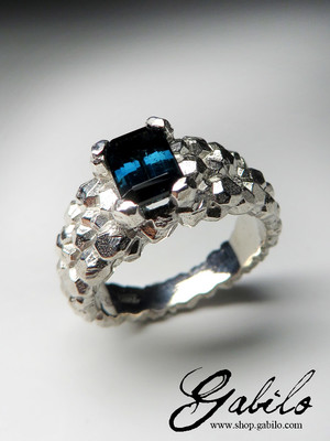 Made to order: Tourmaline Indigolite Silver Ring with Gem Report MSU