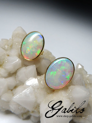 Australian opal gold earrings