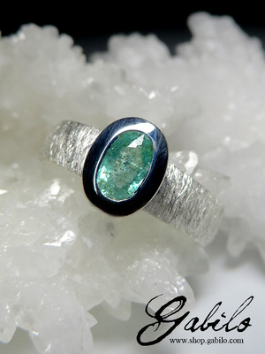 Tourmaline Paraiba Silver Ring with gem report MSU