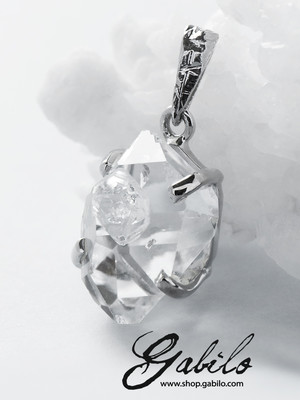 Herkimer Diamond Rock Crystal Silver Pendant