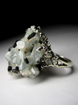 Aquamarine black tourmaline raw crystal silver ring