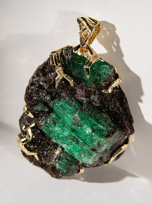 Russian emerald crystals gold pendant