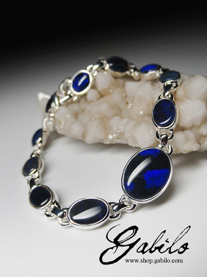 Made to order: Black opal silver bracelet