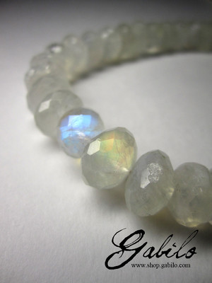 Big moonstone beaded necklace with certificate GemExim
