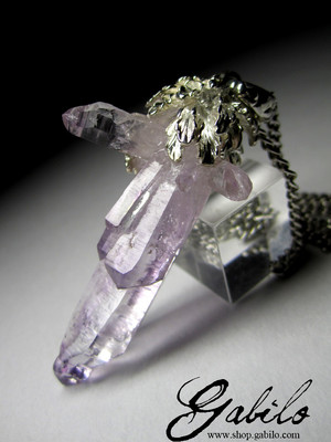 Amethyst Crystals Cluster Silver Pendant