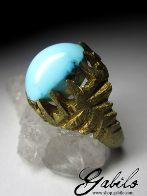 Made to order: Iranian Turquoise 1 grade Ring with Jewellery Report GemExim