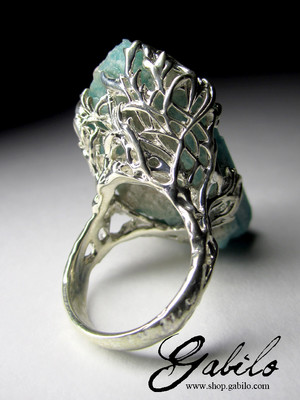 Ring with Amazonite Crystal