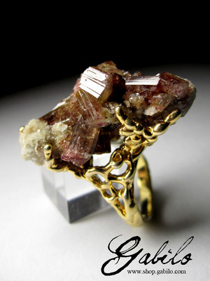 Big Tourmaline Crystals Gold Plated Silver Ring